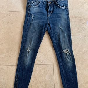 ZARA skinny dark wash jean with zipper detail